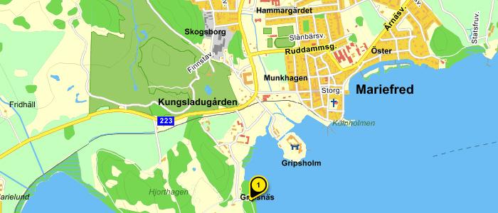 Karta till Gripsholmsskolan